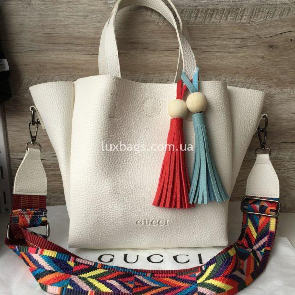 Женская сумка GUCCI большая белая