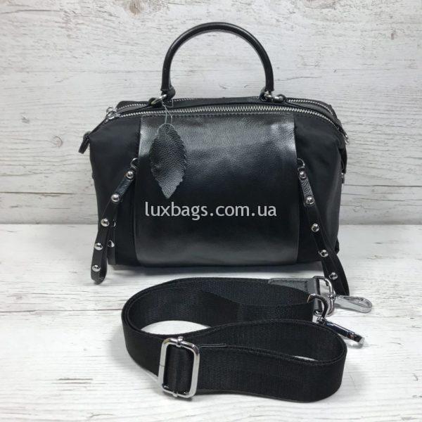 женская кожаная сумка саквояж черная