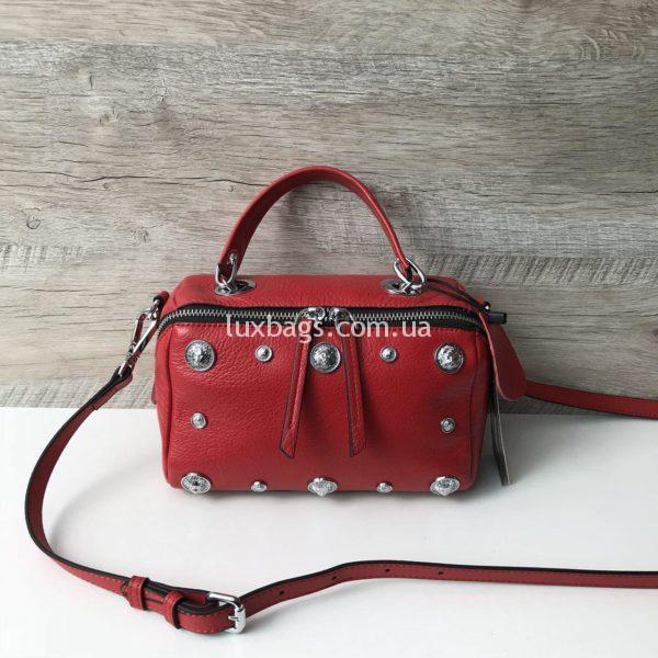 красная кожаная женская сумка стильная