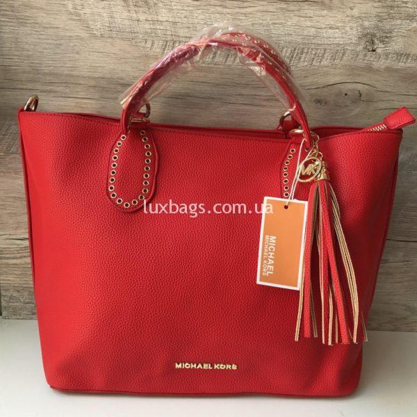 Женская сумка Michael Kors на коротких ручках красная