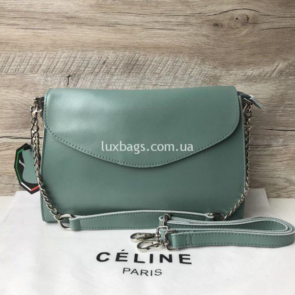 Кожаная сумка Celine бирюзовая недорого
