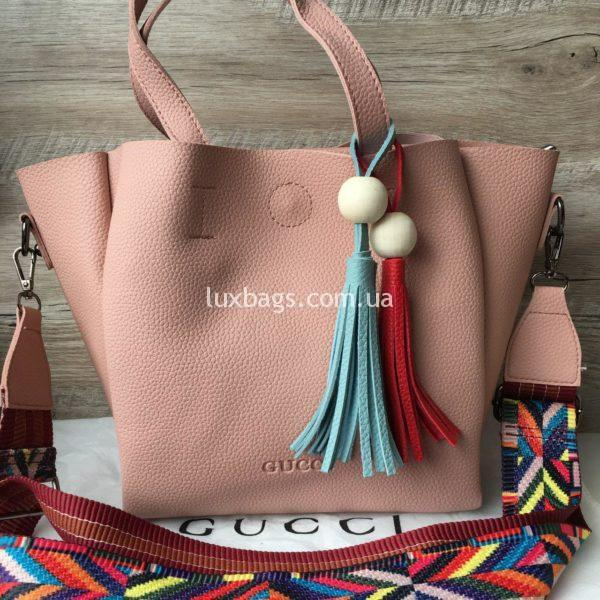 Женская сумка GUCCI большая розовая