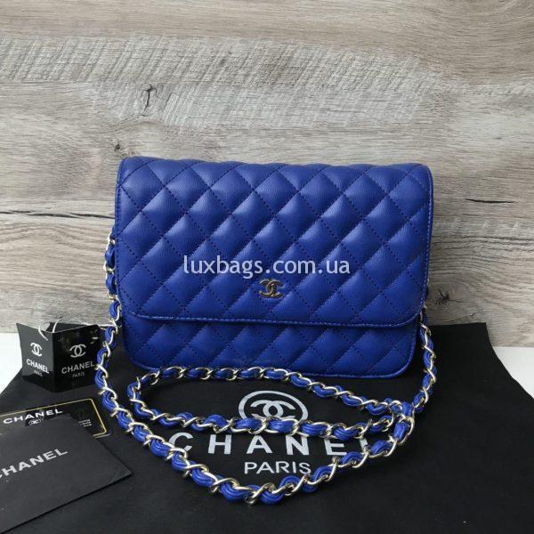 Женская сумка-клатч Chanel синяя