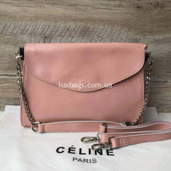 Кожаная сумка Celine розовая недорого