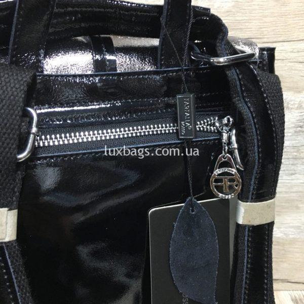 лаковый рюкзак-сумка чёрного цвета фото 4