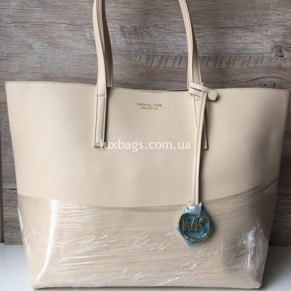 Женская сумка Шоппер Michael Kors бежевая