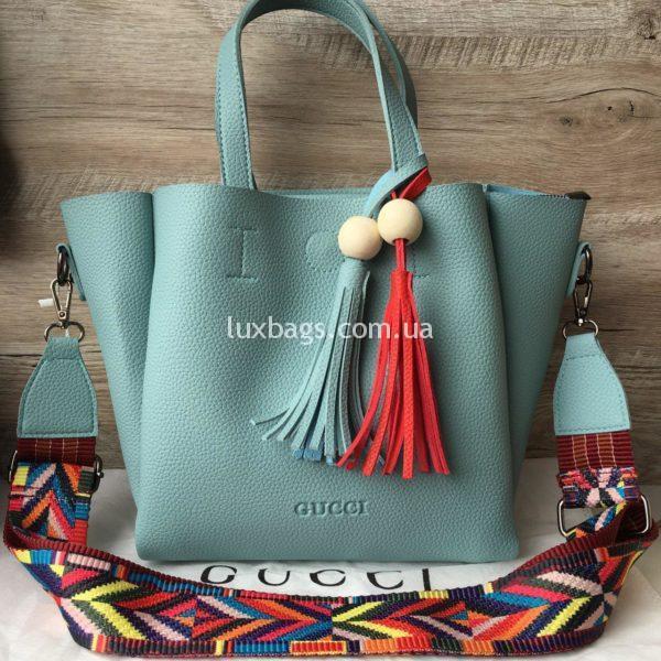 Женская сумка GUCCI большая голубая