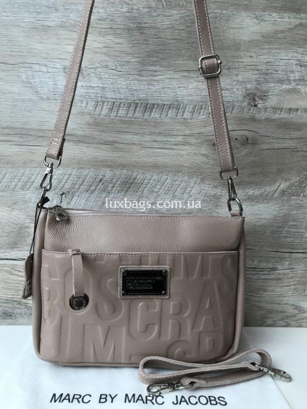 Женская кожаная сумка Marc Jacobs бежевая