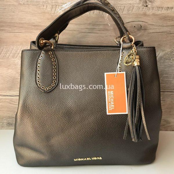 Женская сумка Michael Kors на коротких ручках бронзовая