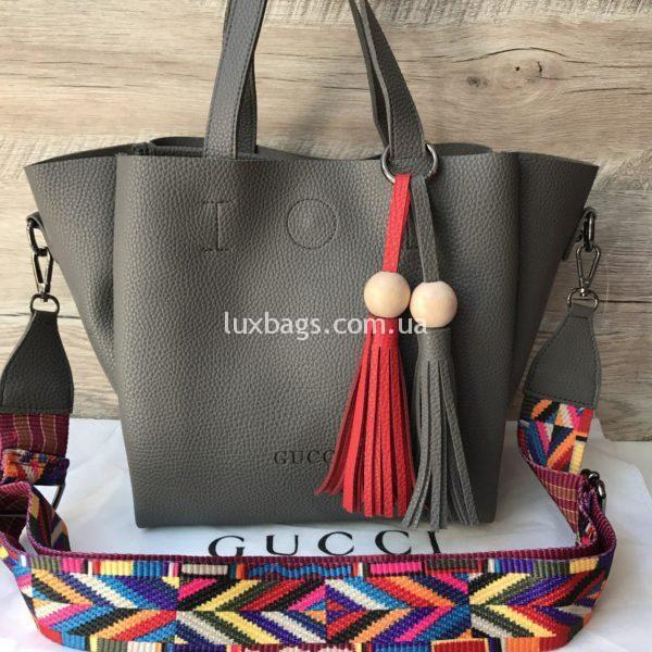 Женская сумка GUCCI большая серая