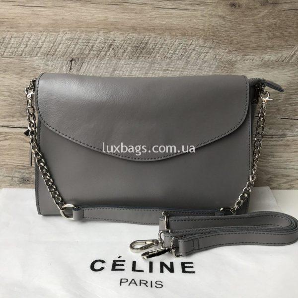 Кожаная сумка Celine серая