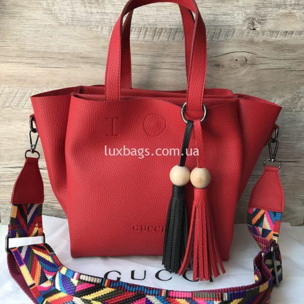 Женская сумка GUCCI большая красная