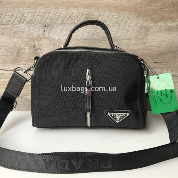 Женская черная сумка-саквояж Prada прада фото 3