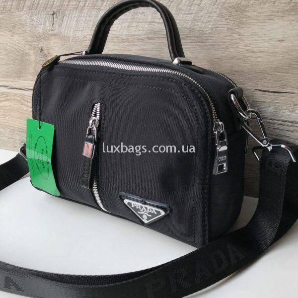 Женская черная сумка-саквояж Prada прада фото 2