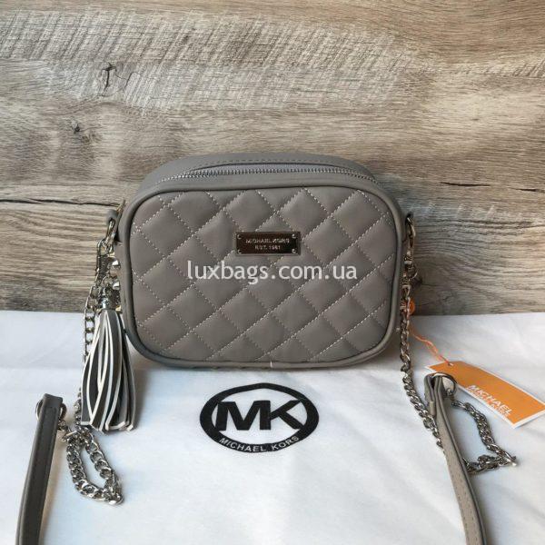 Женская сумка с шипами Michael Kors серая
