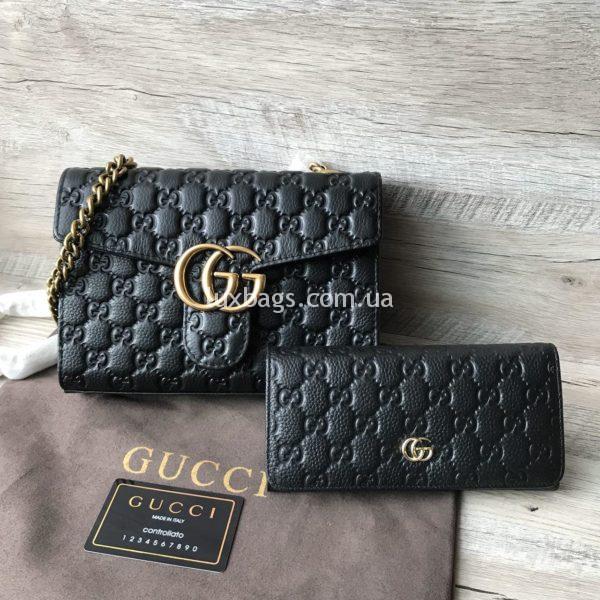 Женская сумка - клатч Gucci кожаная фото