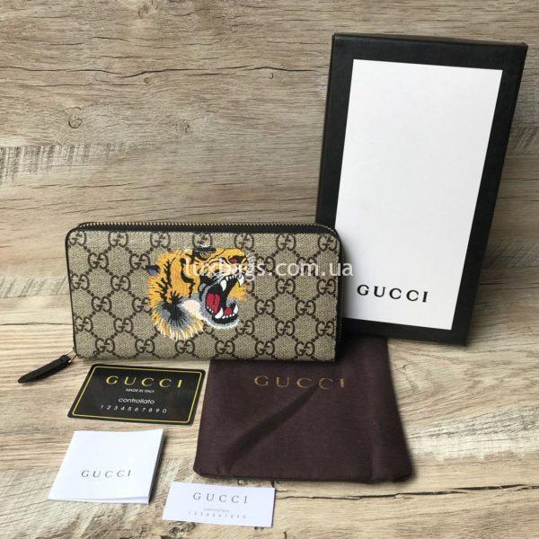 Стильный кошелек унисекс с тигром Gucci