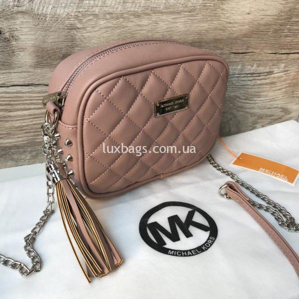 Женская сумка с шипами Michael Kors розовая