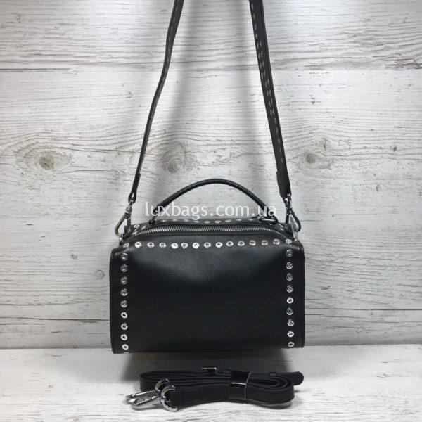 черная кожаная женская сумка-бочёнок