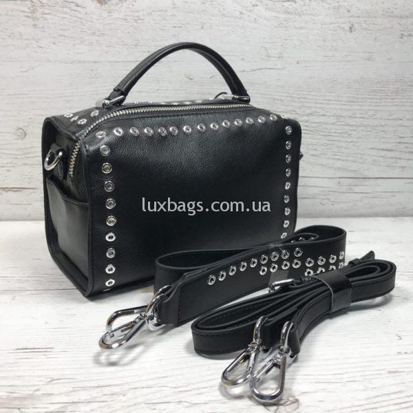 черная кожаная женская сумка (бочёнок)