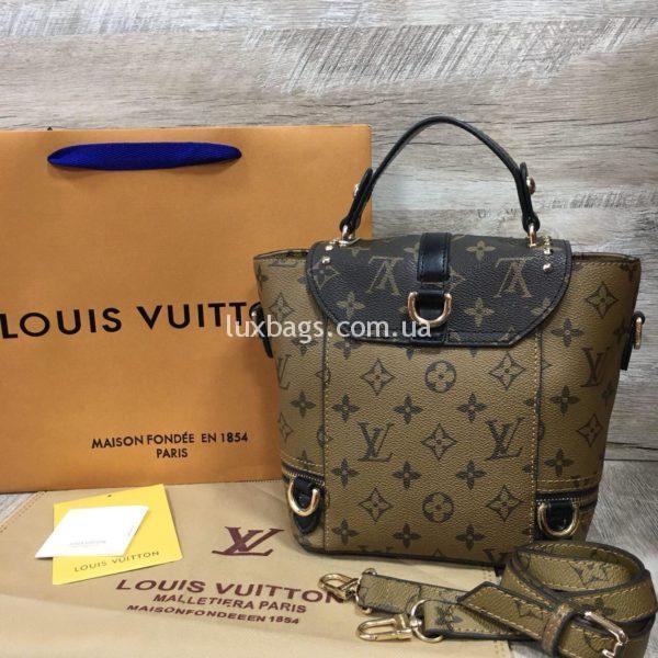 Женский модный рюкзак сумка Louis Vuitton цвета хаки