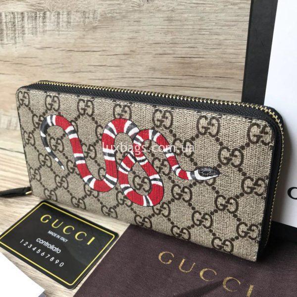 кошелек Gucci с принтом змеи на молнии