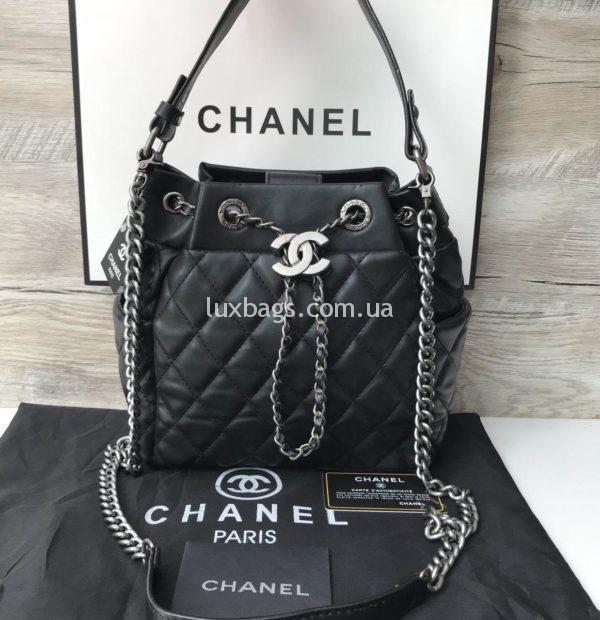 Женская сумка chanel мешочек черная