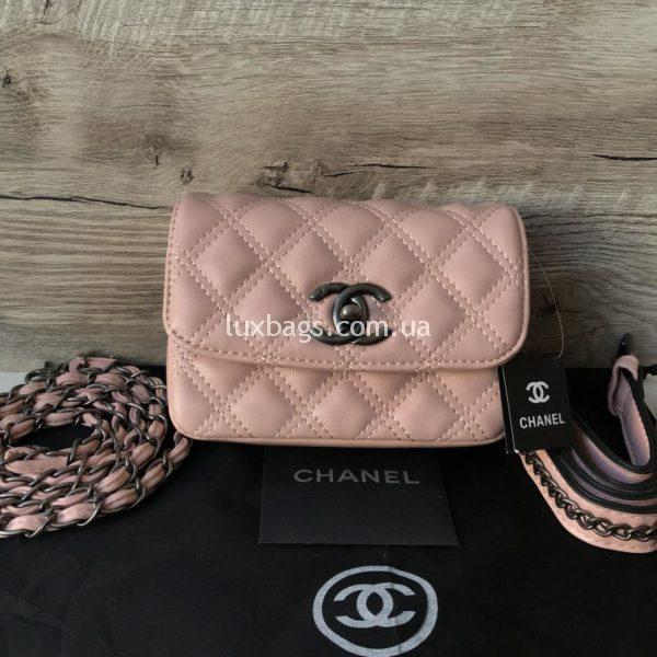 Женская сумка на пояс Chanel розовая
