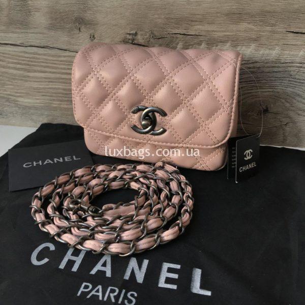 Женская сумка на пояс Chanel Шанель розовая