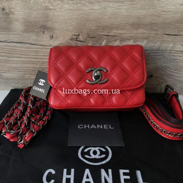 Женская сумка на пояс Chanel Шанель красная
