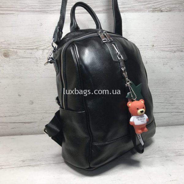 Женский кожаный рюкзак с мишкой фото