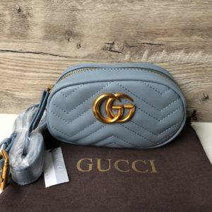 Женская поясная сумка GG Marmont mini голубая