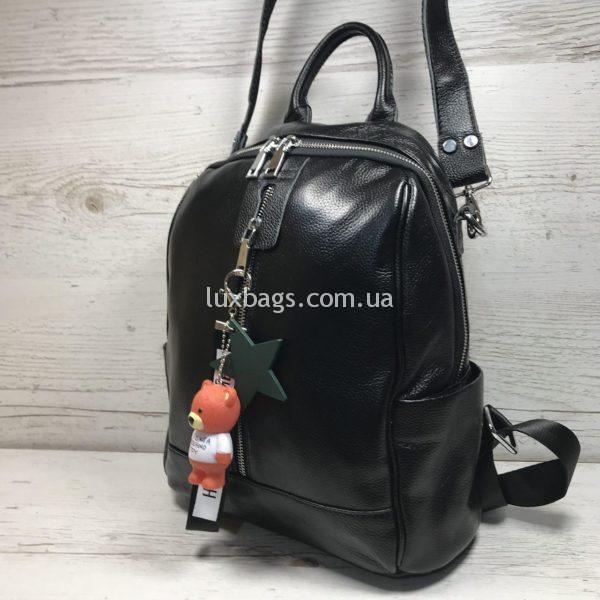 Женский кожаный рюкзак с мишкой