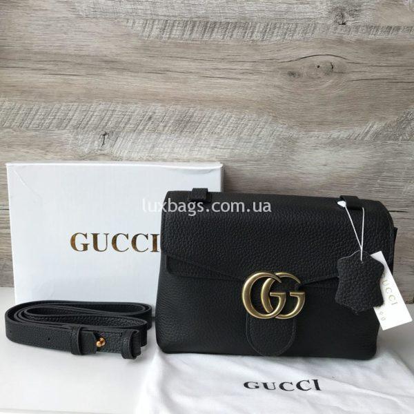 Женская кожаная сумка клатч Gucci Гуччи черная