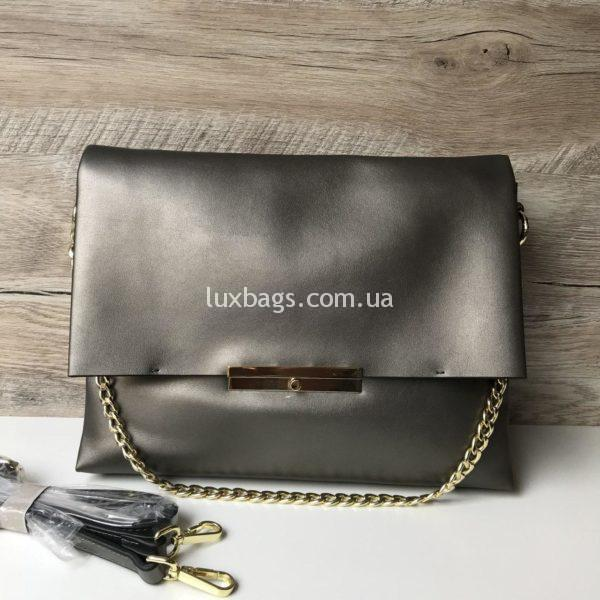женская Кожаная сумочка Polina&Eiterou серебряная