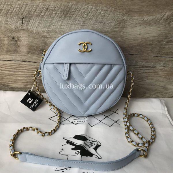 Женская круглая сумка Chanel Шанель голубая