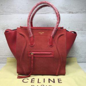 Замшевая сумка Celine Phantom красная