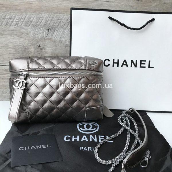 Сумочка Chanel Шанель копия серебряная