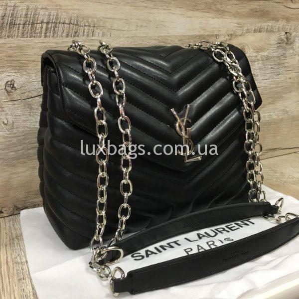 Женская чёрная сумка Yves Saint Laurent на цепочке фото 3