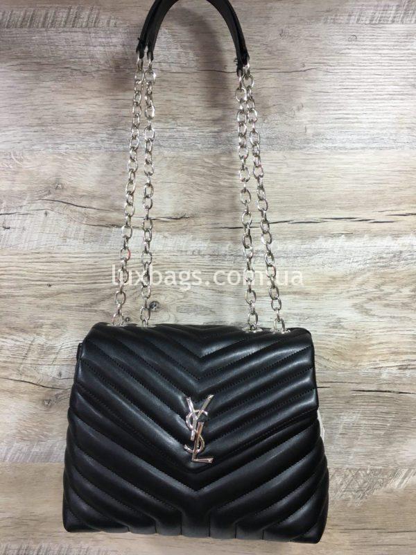 Женская чёрная сумка Yves Saint Laurent на цепочке фото