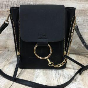 черный брендовый рюкзак из экокожи