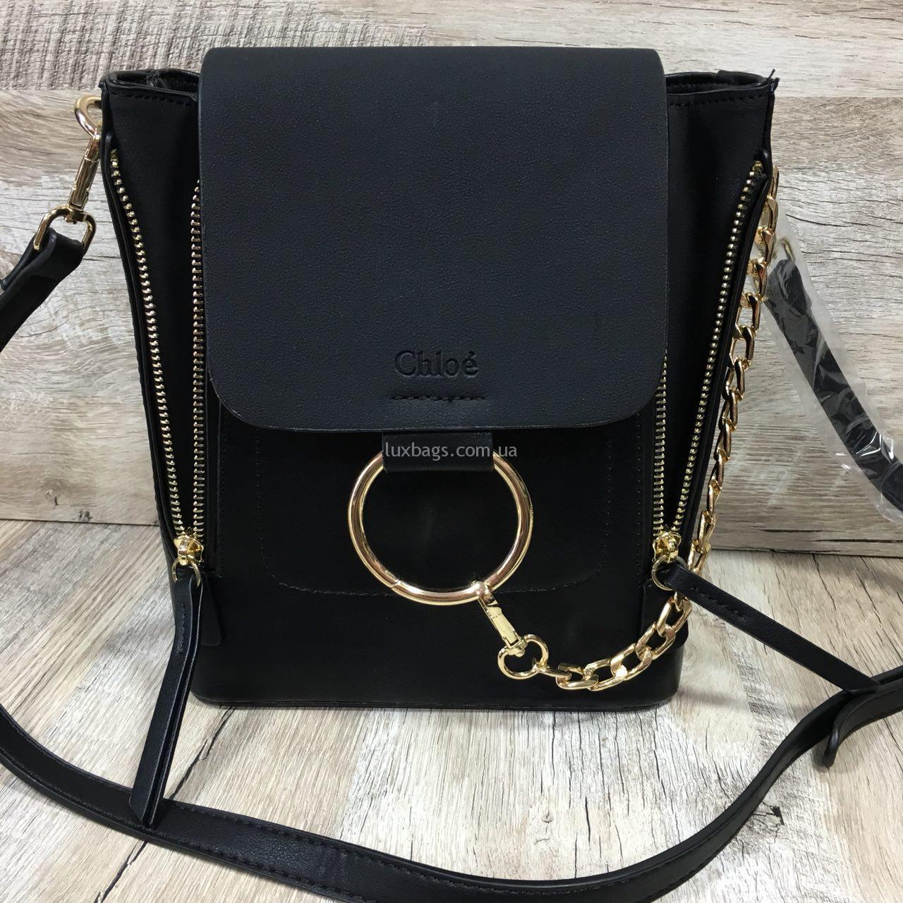 62bc87ee5cff Главная / РЮКЗАКИ / Женская рюкзак-сумка CHLOÉ Faye. 🔍. черный брендовый  рюкзак из экокожи