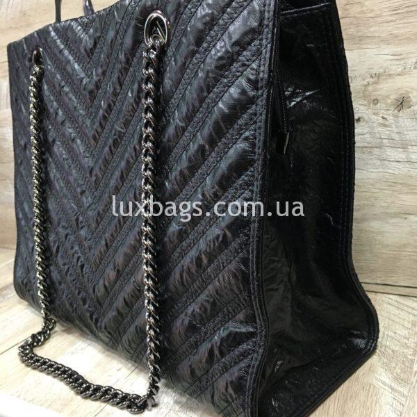 Женская сумка черная с каркасом фото 3
