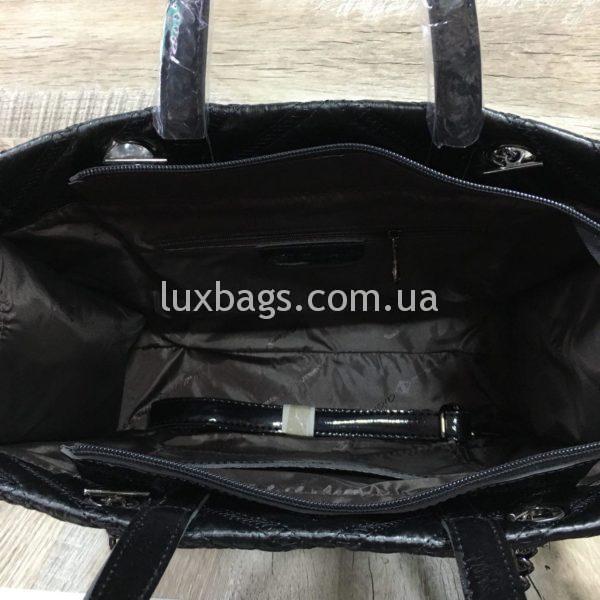 Женская сумка черная с каркасом фото 2