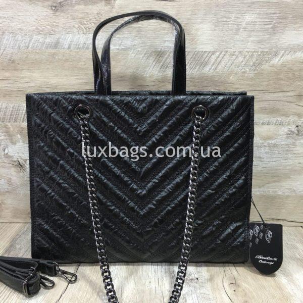 Женская сумка черная с каркасом фото 1