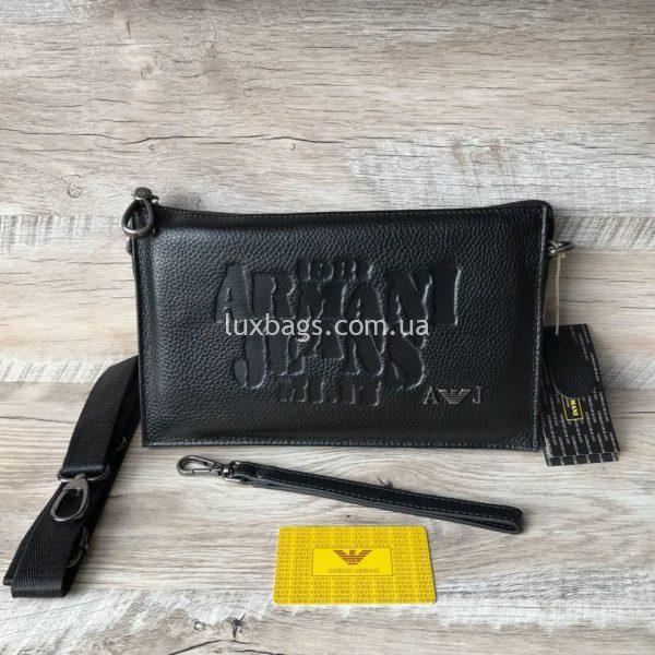 Мужской кожаный клатч Armani брендовый кошелек