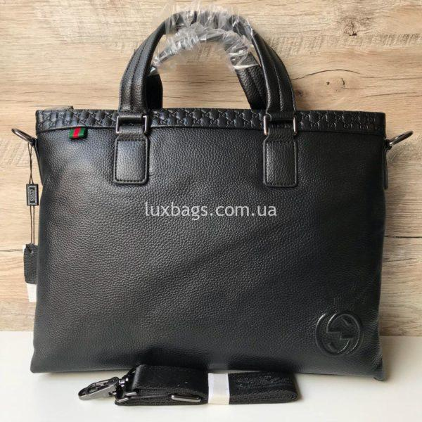 Мужской кожаный портфель Gucci формата А4