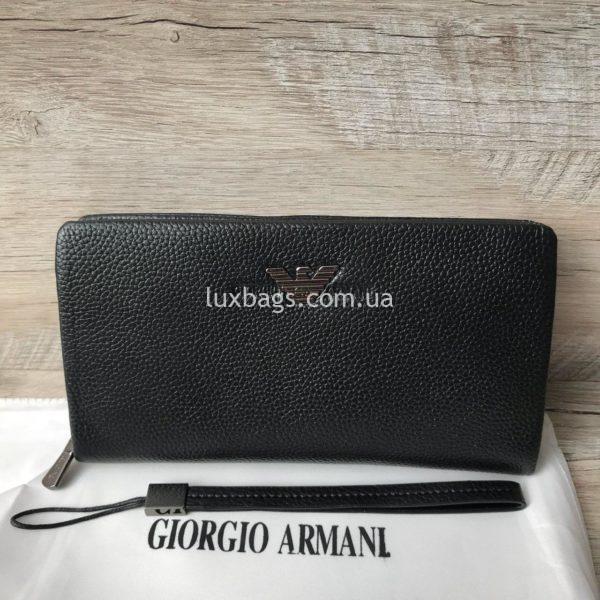 кошелек Armani для мужчин из натуральной кожи черный