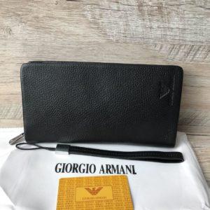 клатч из натуральной кожи кошелек Armani