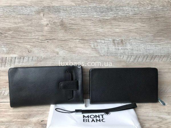 Мужской кожаный кошелек клатч монт бланк